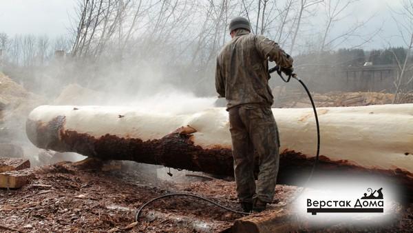 Удаление коры дерева водой